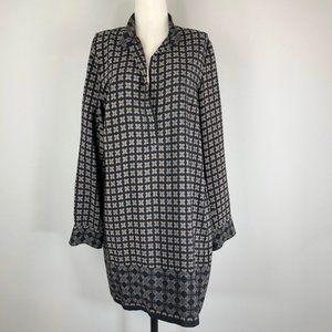 Vince 100% Silk Patterned Tunic Sheath Dress